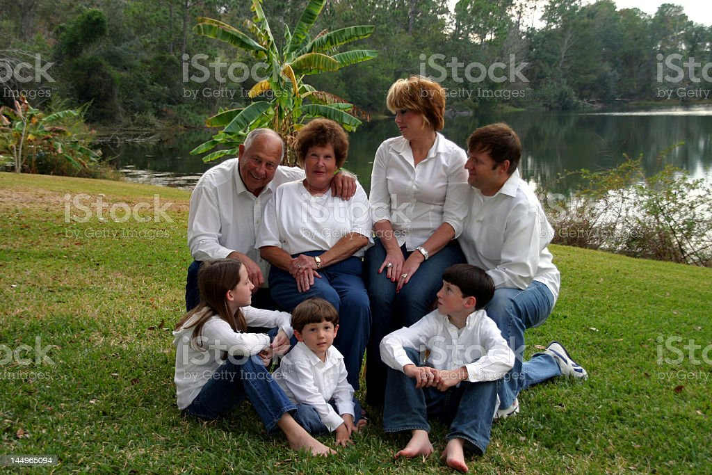 family looking at grandparents royalty-free stock photo