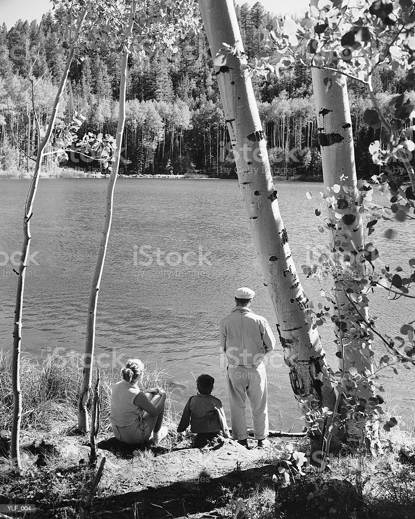 Family looking at lake royalty free stockfoto