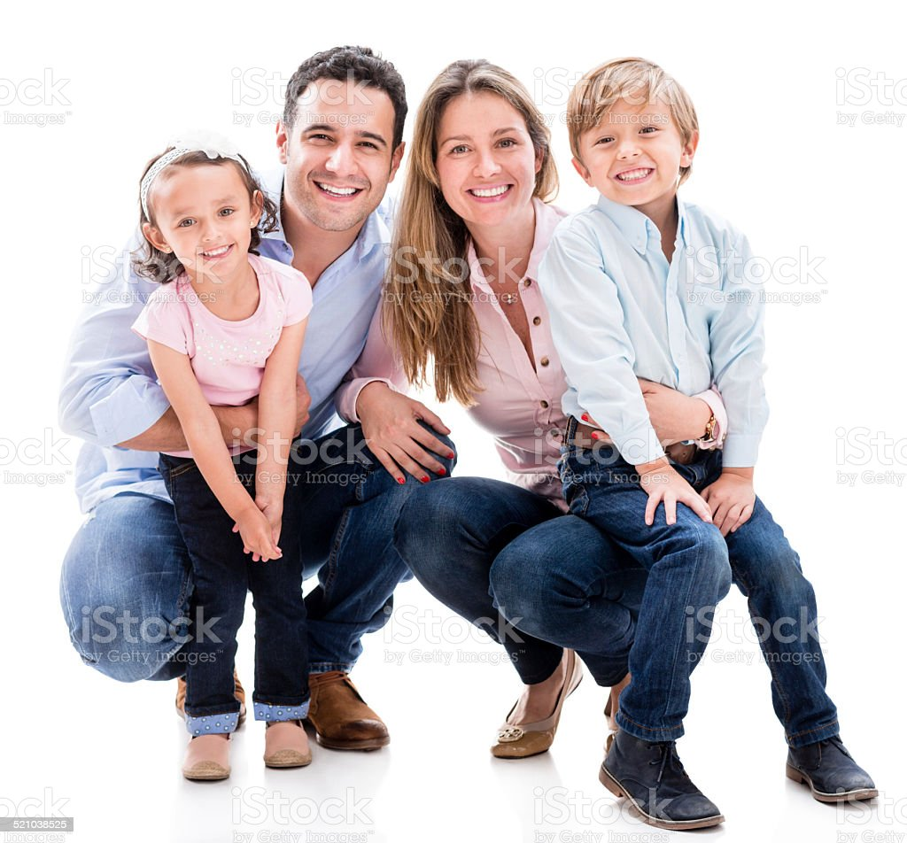 Family looking happy stock photo