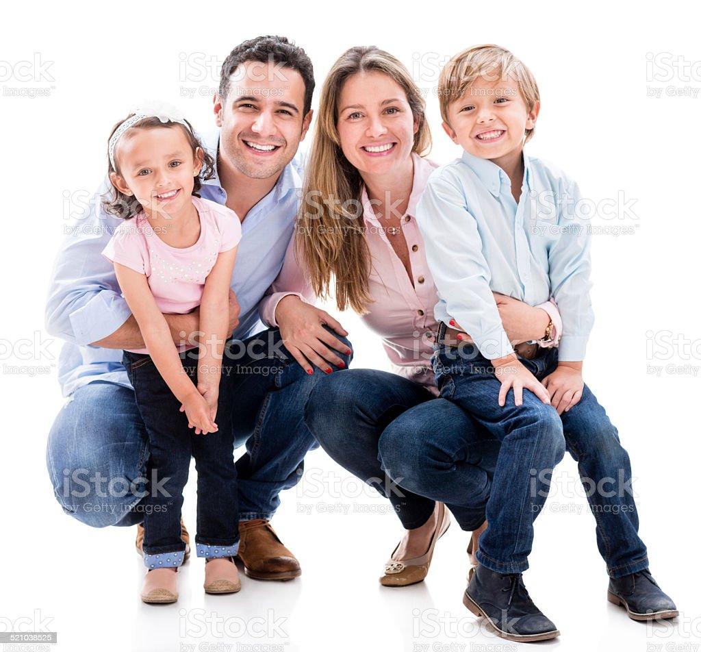 Family looking happy stock photo