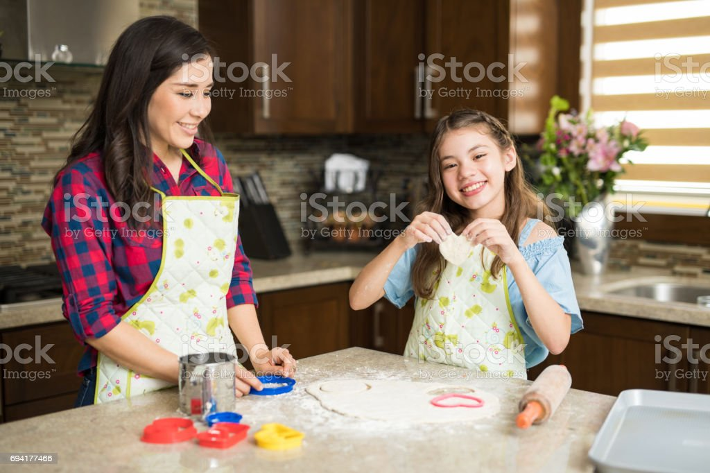 Family love in the kitchen stock photo