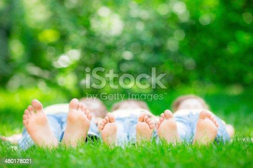480122543 istock photo Family lying on grass 480178021