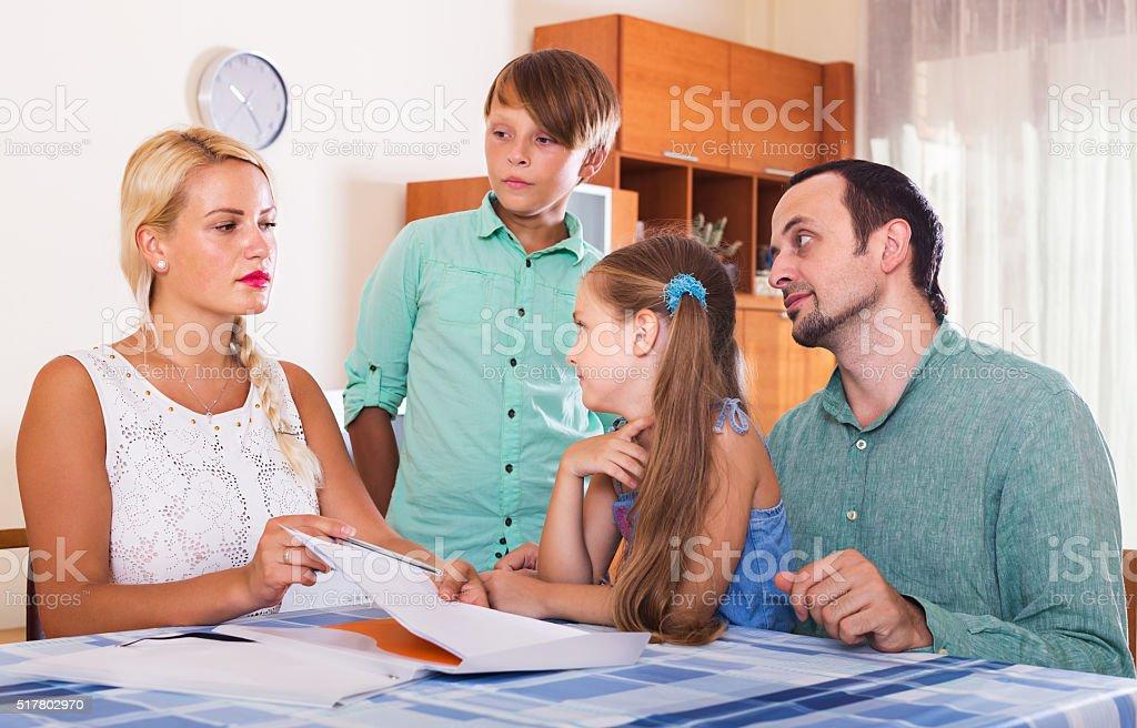 Family making customer complaints stock photo