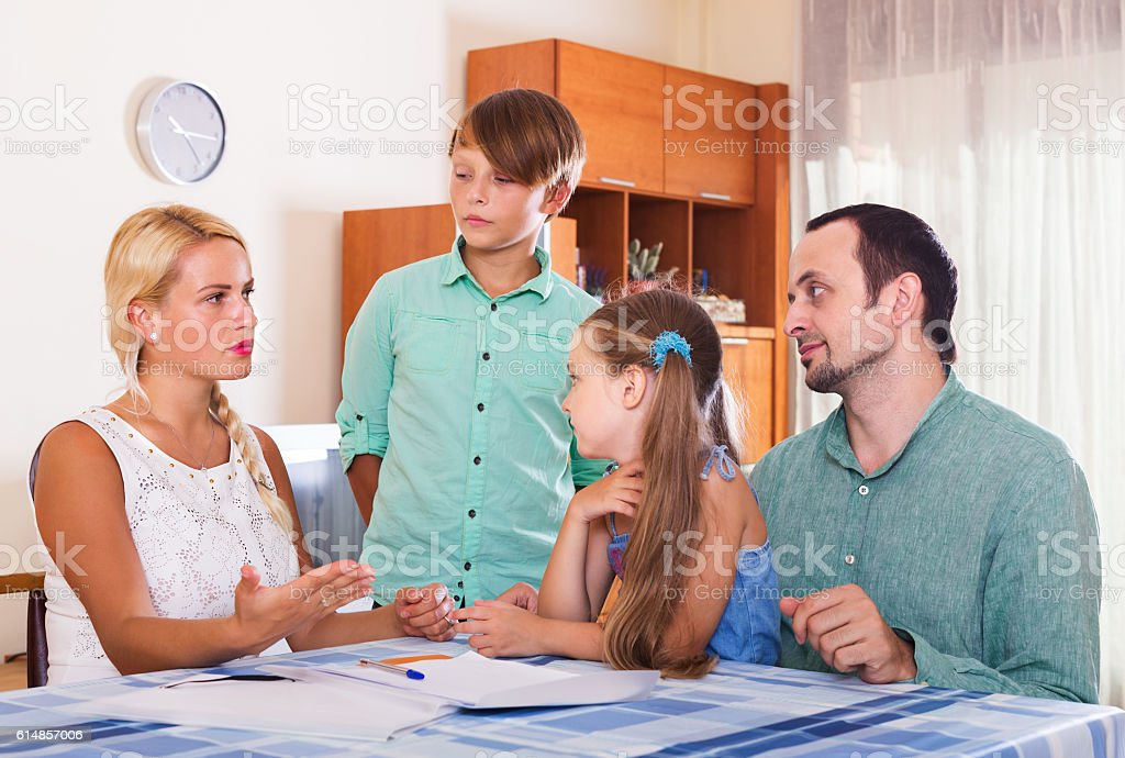 Family making customer complaints stock photo