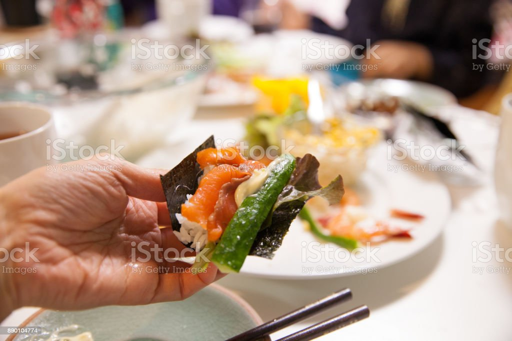Family meal stock photo