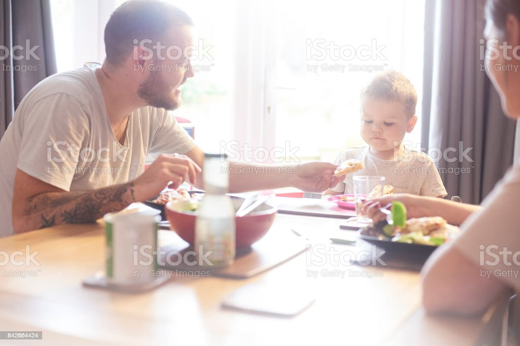 Family meal time stock photo