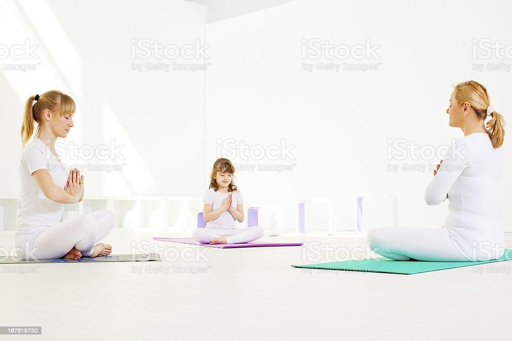 Family Meditation. royalty-free stock photo