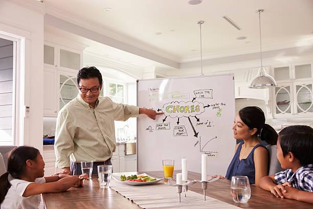familie treffen, um zu besprechen, haushaltsartikel haushaltsaufgabe - küchenorganisation stock-fotos und bilder