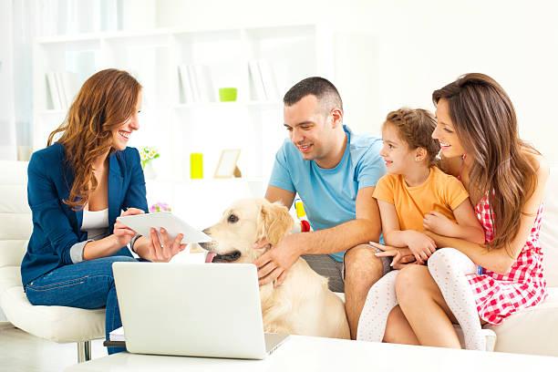 family meeting with financial advisor - four lawyers stockfoto's en -beelden