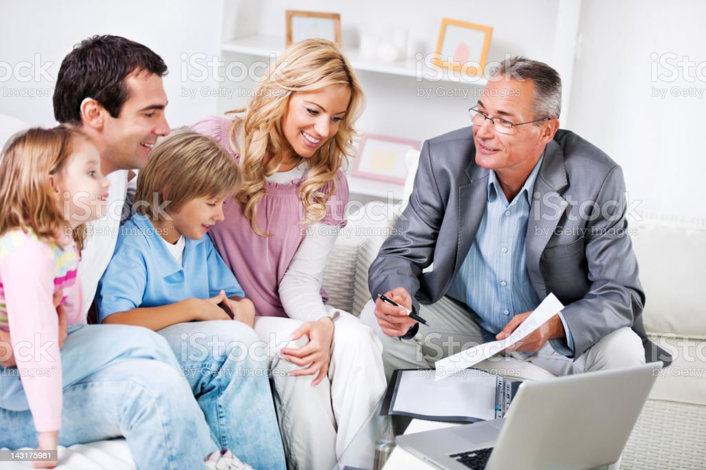 Family meeting with  Insurance Agent. stock photo