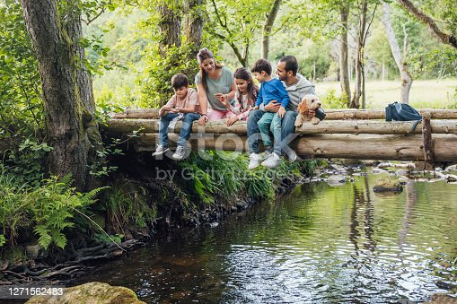 A medium shot of a family and their dog sitting on a bridge looking into river in a woodland forest in Northumberland, Northeastern England during the Covid-19 pandemic.