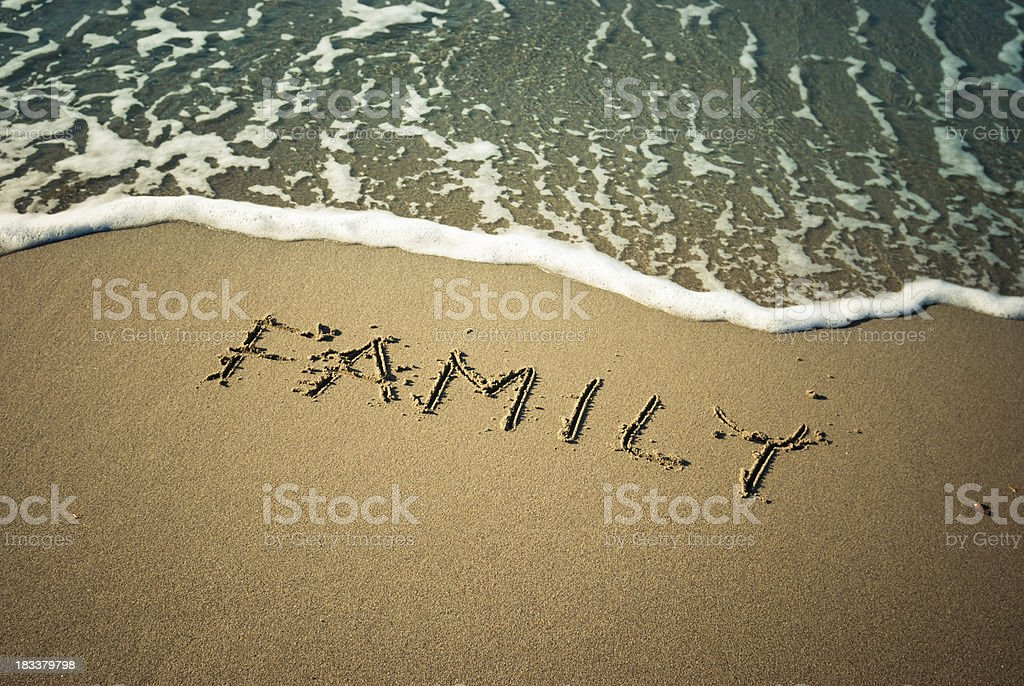 Family message in the sand royalty-free stock photo