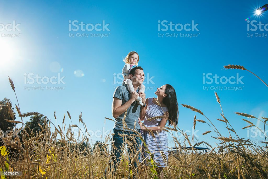 Family, mom, dad and daughter happy and beautiful stock photo