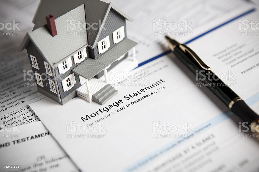 Family mortgage loan statement stock photo