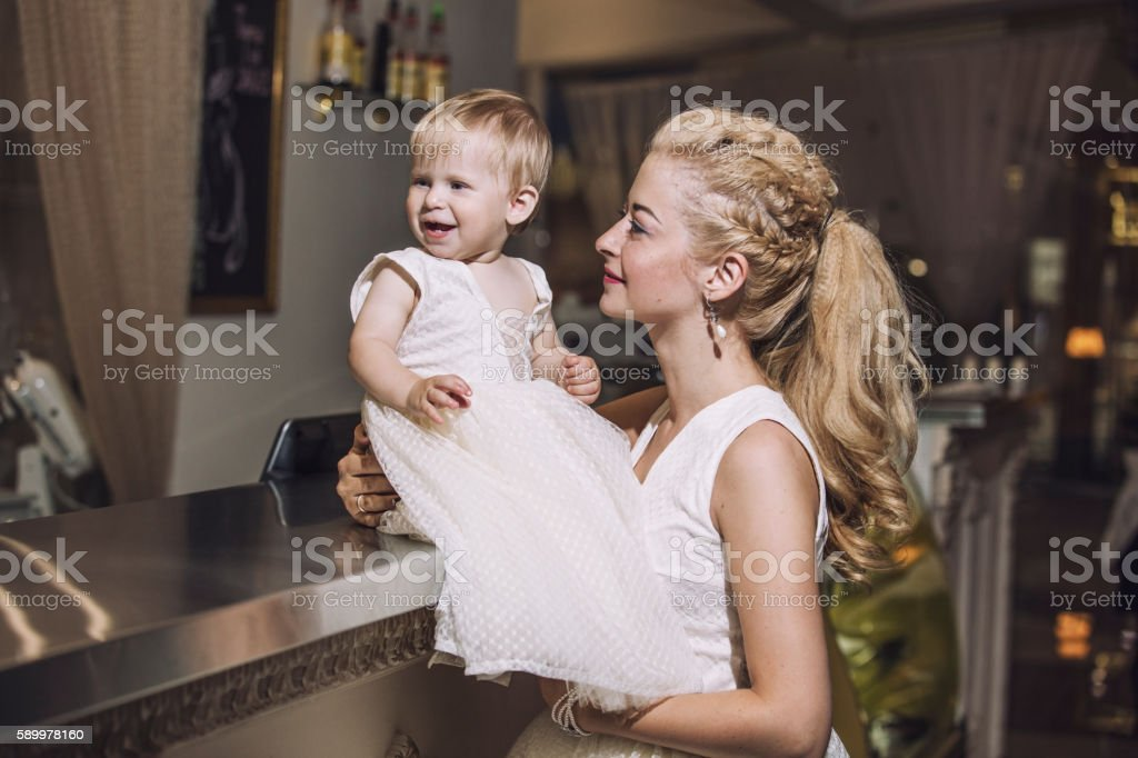 Family, mother and daughter stylish and fashionably dressed beau stock photo