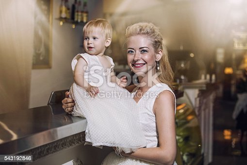 istock Family, mother and daughter stylish and fashionably dressed 543192846