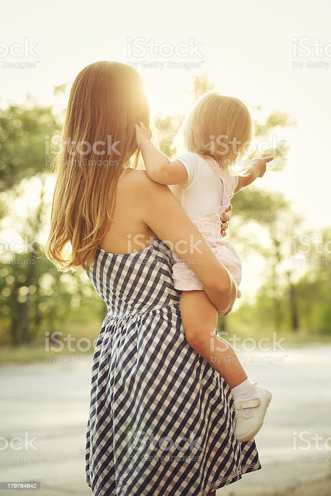 Family, mother and daughter, sunset royalty-free stock photo