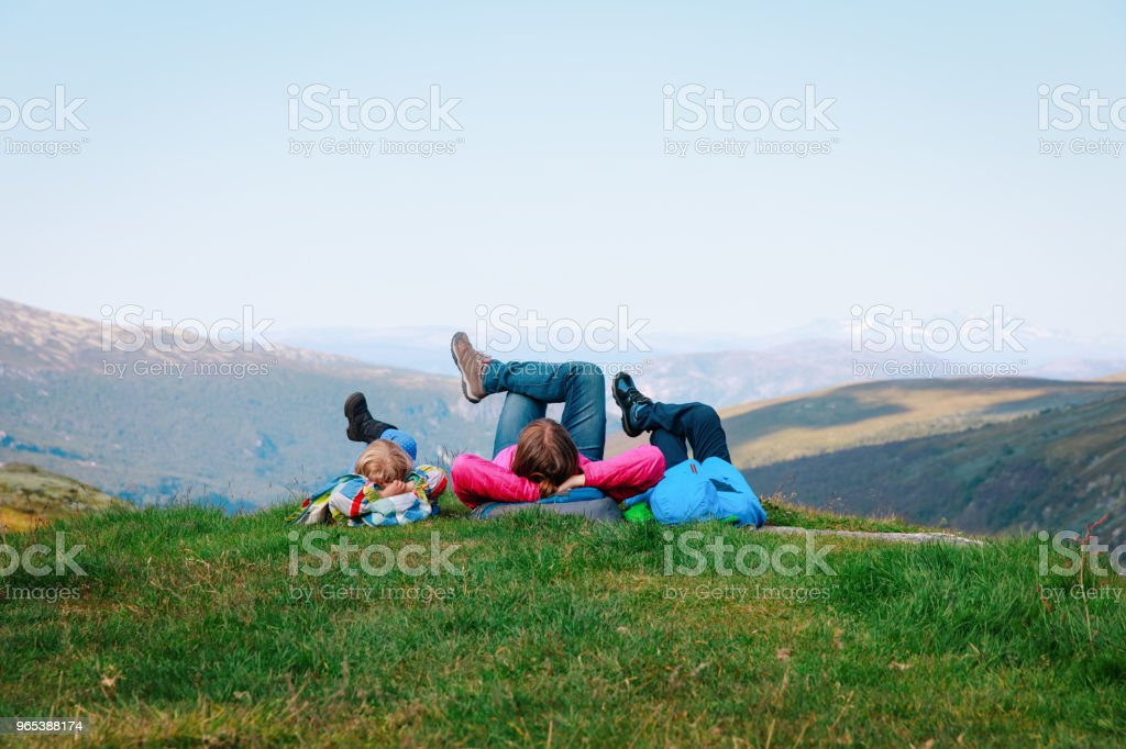 family- mother and kids relax in mountains, nature travel zbiór zdjęć royalty-free