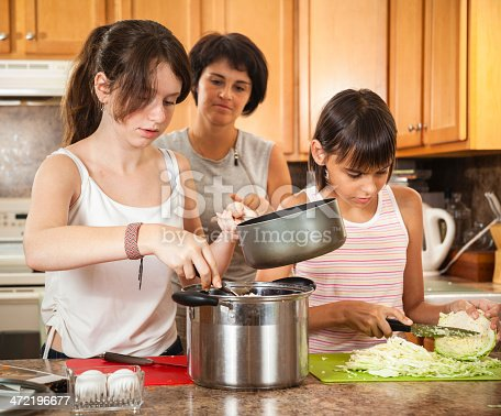 istock Family, mother with two daughters, cook meatballs 472196677