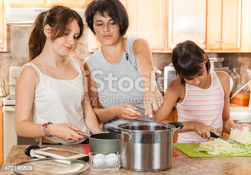 istock Family, mother with two daughters, cook meatballs 472196809