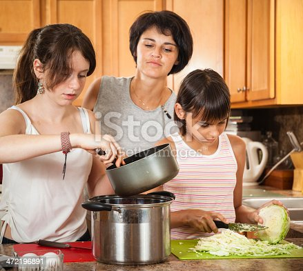 istock Family, mother with two daughters, cook meatballs 472196891