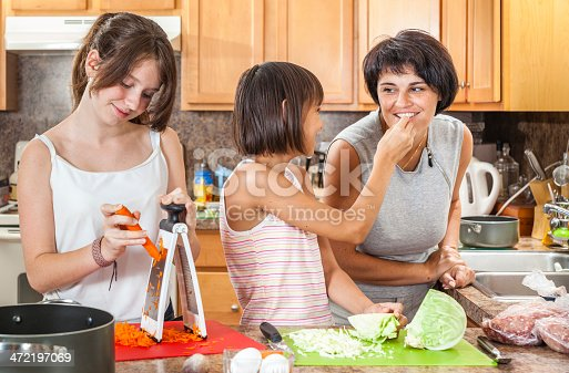 istock Family, mother with two daughters, cook meatballs 472197069