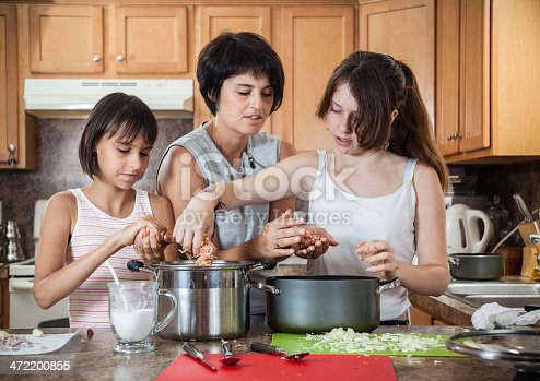 971346934 istock photo Family, mother with two daughters, cook meatballs 472200855