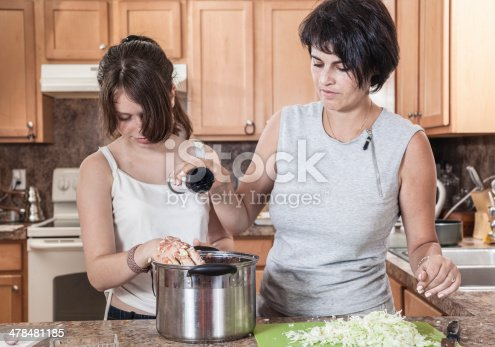 971346934 istock photo Family, mother with two daughters, cook meatballs 478481185