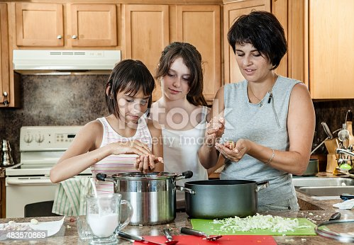 971346934 istock photo Family, mother with two daughters, cook meatballs 483570869