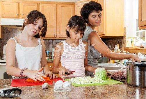 istock Family, mother with two daughters, cutting vegetables for salad 472197293