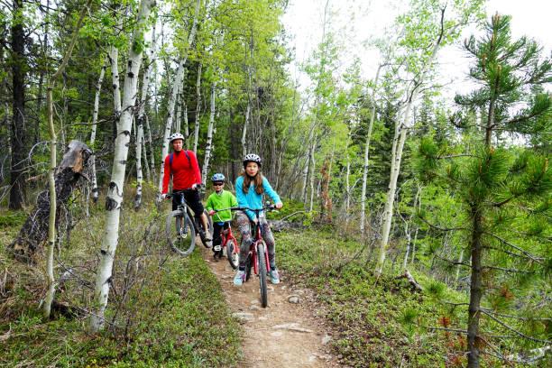 family mountain bike trip - mountain biking stock photos and pictures