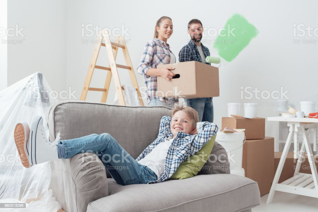 Family moving into a new apartment royalty-free stock photo