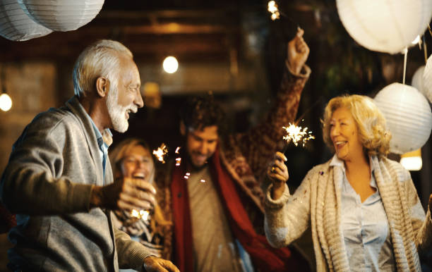 family new year's eve party. - family gatherings stock pictures, royalty-free photos & images