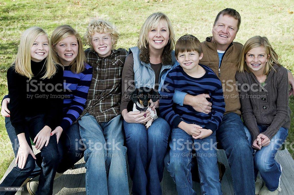 Family of 8 royalty-free stock photo