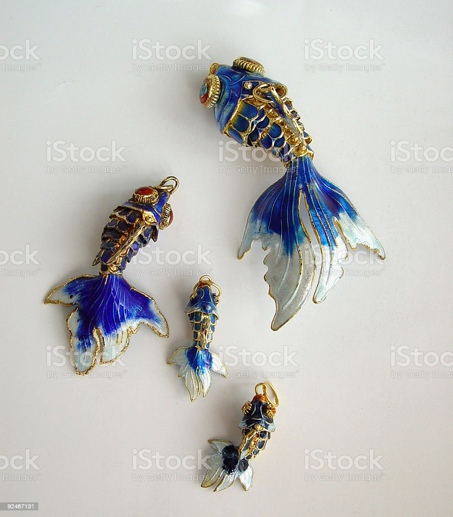 Family of Blue Enamel Chinese Goldfishes royalty-free stock photo