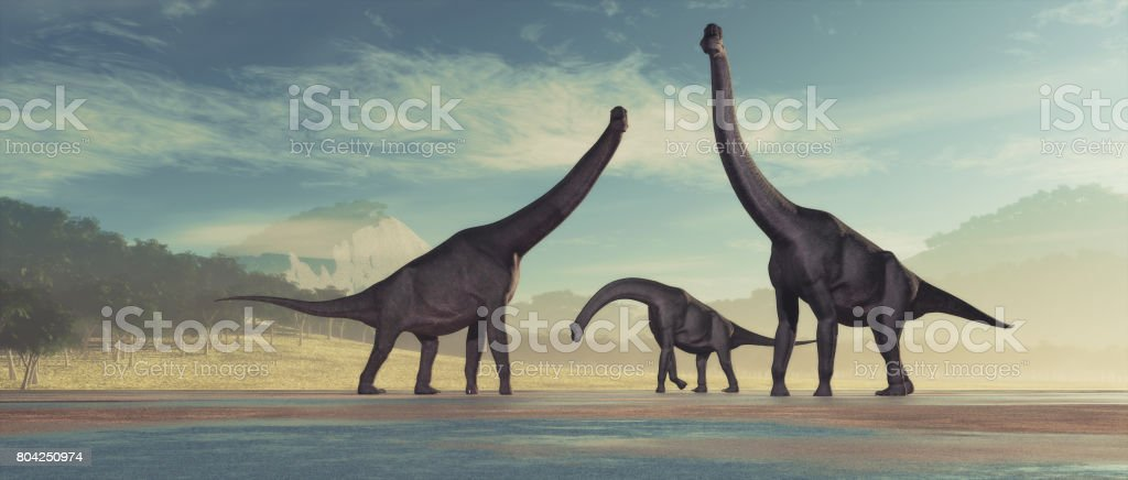 Family of dinosaurs stock photo