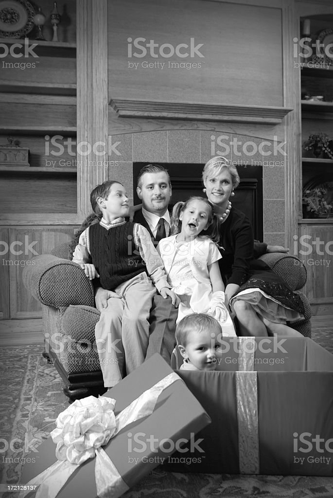 Family of Four Dressed in Retro Clothing During Holiday royalty-free stock photo