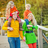 istock Family of four outdoors in autumn park 175755282