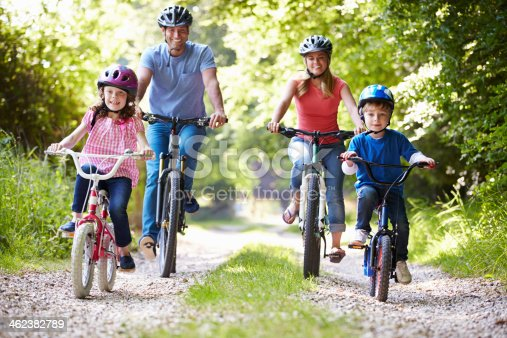 istock Family of four riding bikes on gravel road 462382789