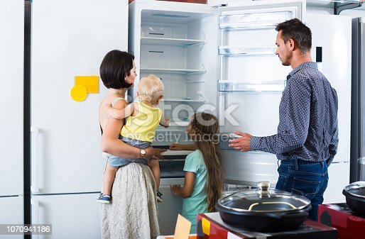 876810414istockphoto family of four shopping new refrigerator in home appliance store 1070941186