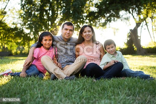 811227514 istock photo Family of four sitting on grass and smiling at camera 807900248