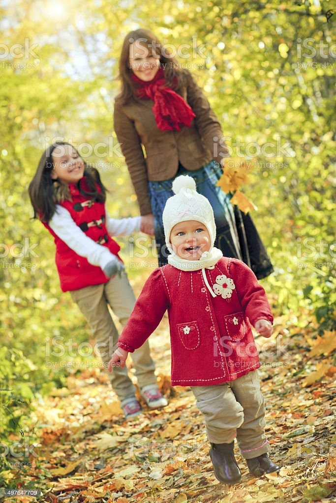 Family of in autumn park royalty-free stock photo