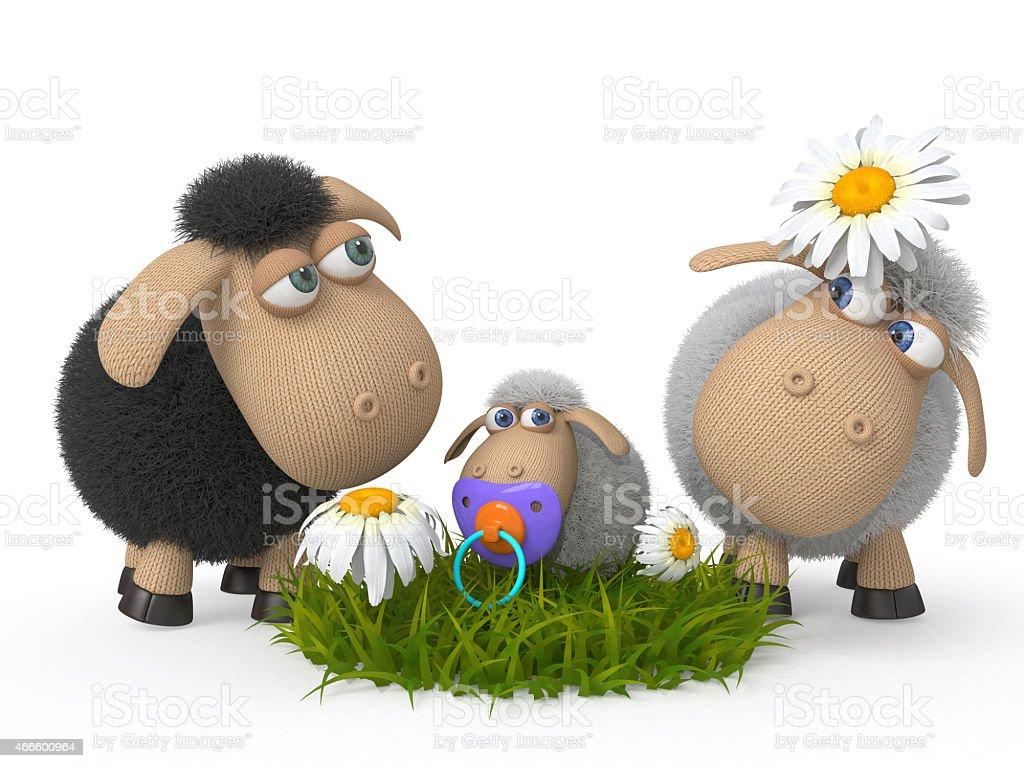 Family of lambs stock photo