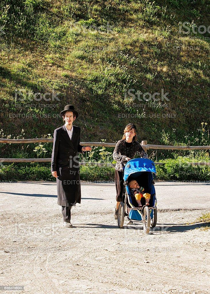 Family of orthodox jews in Zermat stock photo