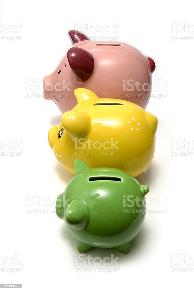 Family of piggy bank money-boxes. royalty-free stock photo