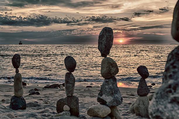 Family of Rocks at the Beach stock photo