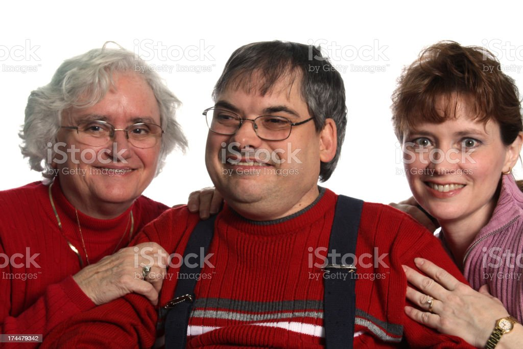Family of special needs man royalty-free stock photo