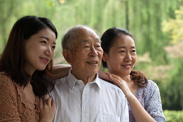 Family of three generations stock photo