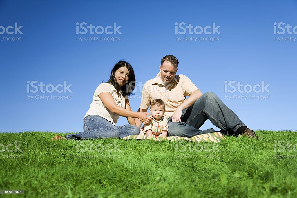 Family of Three Getting Ready for Picture Time royalty-free stock photo