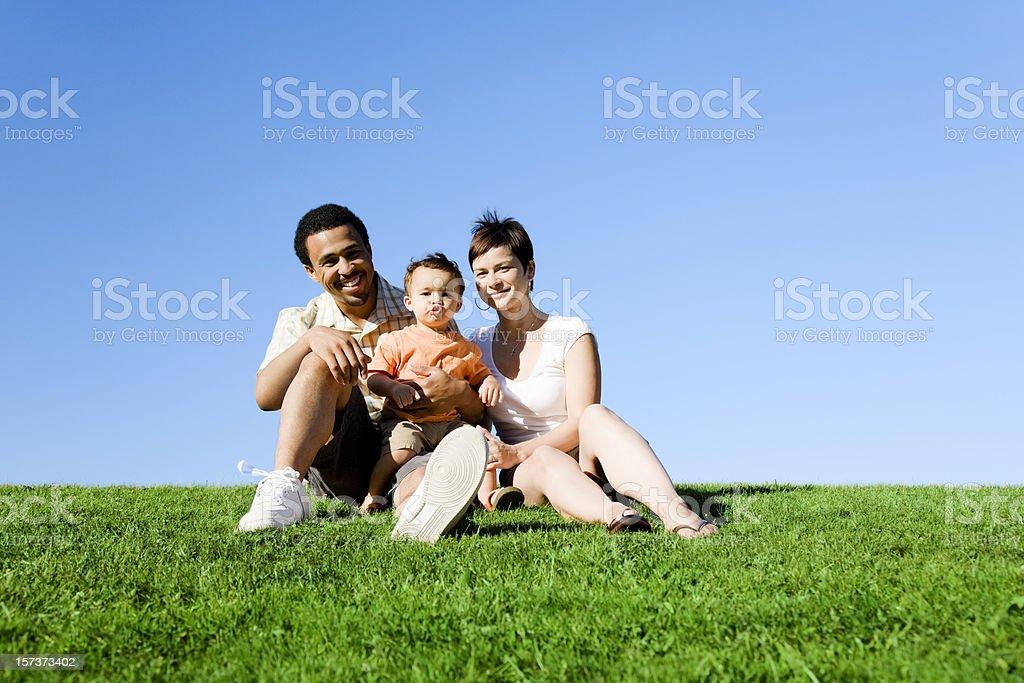 Family of Three in Park royalty-free stock photo